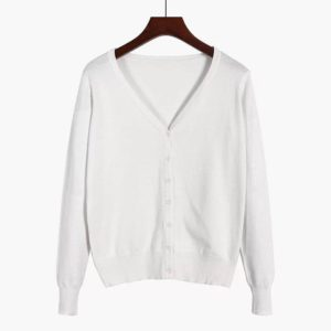 88-339-100% cotton cardigan -WHITE