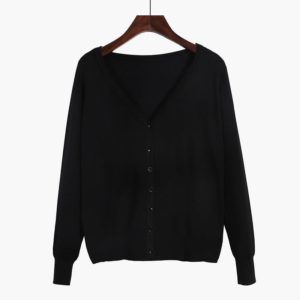 88-339-100% cotton cardigan -BLACK