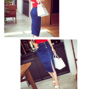 88-340-Denim skirt-blue
